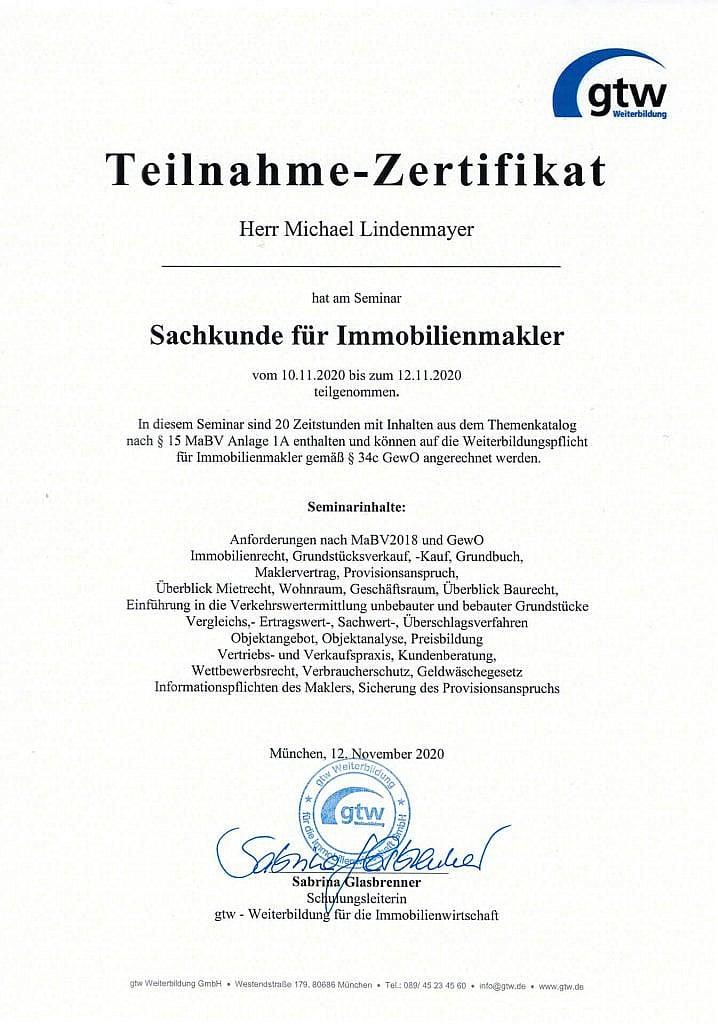 Zertifikat Sachkunde für Immobilienmakler :